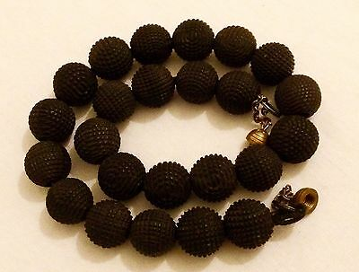 Antique Circa1800 Hand Carved Bog Oak Bead Extreme RARE Irish Mourning Necklace