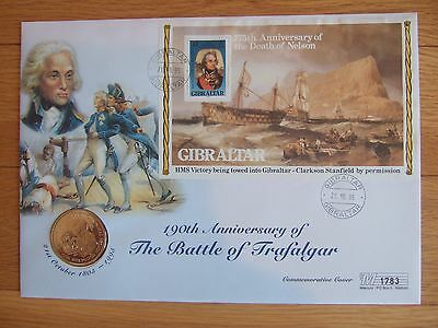 Gibraltar 1995 Battle Of Trafalgar / Nelson M/s £5 Coin Ltd Edt First Day Cover