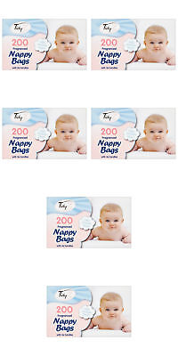 1 - 1200 Disposable Baby Fragranced Scented Nappy Bags Hygienic Sack Tie Handle