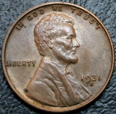 1931-S Lincoln Wheat Cent AU/BU Key Date 1C Coin