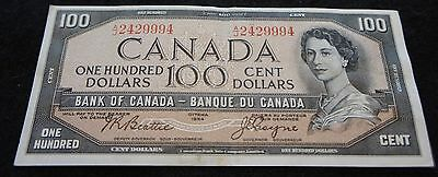 1954 Bank of Canada 100 Dollar Note in VF Condition Nice Note!
