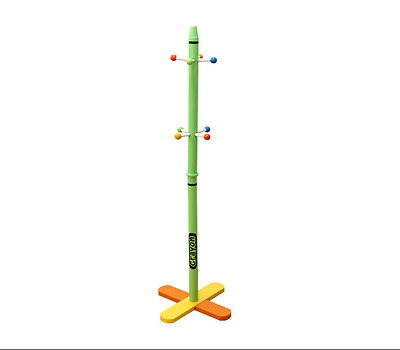 Wooden Coat Stand Kids Bedroom Hanger Child Hat Pink/Green New Easy to assemble