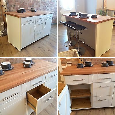 Bespoke Handmade Kitchen Island / Breakfast Bar With Stools