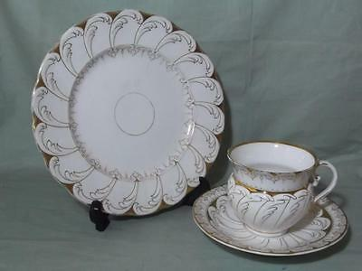 Vintage Victorian Bone China Trio Tea Cup Saucer Plate Gilt Acanthus Leaf