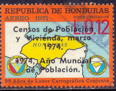 Honduras Overprint  Map On Stamp -  25 years of joint cartographic work 1971.