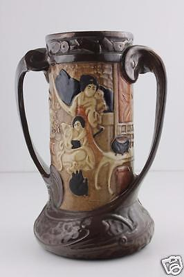 Bretby Ware c1840/1900 2 Handle Large Vase With Raised Oriental Style Decoration