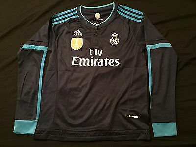Real Madrid Away Long Sleeve Soccer Adidas Jersey Youth Kids Unisex