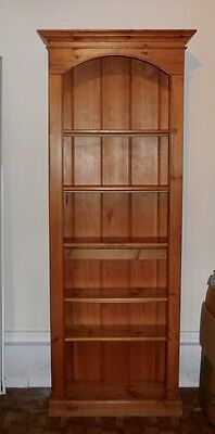 Antique English Pine Tall Open Bookcase with Shelves