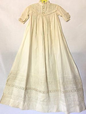 VTG VICTORIAN LONG IVORY WHITE COTTON CHRISTENING GOWN W/ LACE Nice Patina