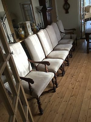 Set Of Six Reproduction Solid Oak Chairs With Uphoustered Seats And Backs