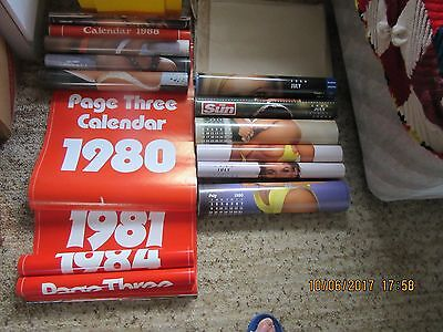 The Sun Page 3 Calendars 1980 - 2014  Total of 34 Calendars - over 400 pictures