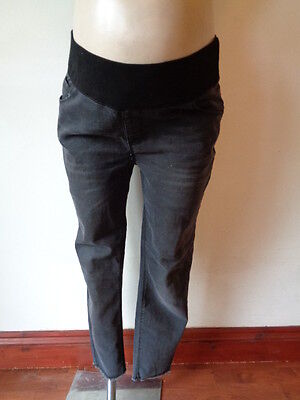 New Look Maternity Charcoal Under Bump Frayed Hem Skinny Slim Fit Jeans Size 12