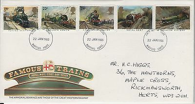 Famous Trains 1985  Royal Mail  First Day Cover Free P&p