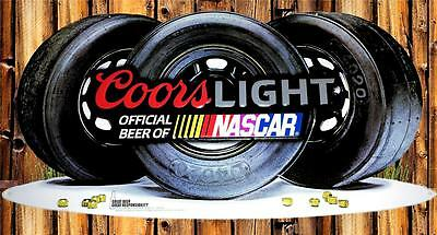 Coors Light Nascar Racng Tires 24x13 Embossed Metal Tin Wall Sign Tacker New