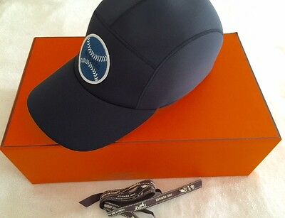 NEW Authentic Hermes Mens Nevada Baseball Cap Black Neoprene Size 61 (XL) SAVE