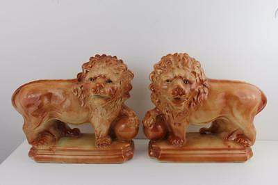 Early 20th Century Pair Large Staffordshire Pottery Lions , Glass Eyes 35cm Wide
