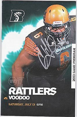 Arizona Rattlers Cliff Dukes Autographed 2013 Program July 13th Game Vs. VooDoo