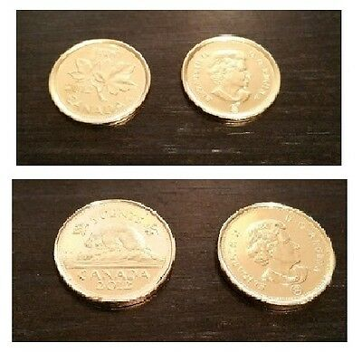 2x canadian 2012 gold plated coins penny + gold layared nickel new canada 1c 5c