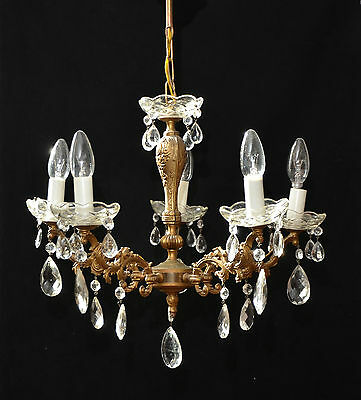 Vintage French 5 Branch Chandelier Ceiling Light Crystals