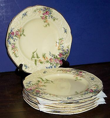 "Lot Of 6 Crown Ducal Florentine Rosalie Dessert Plates 8"" Floral Made In England"