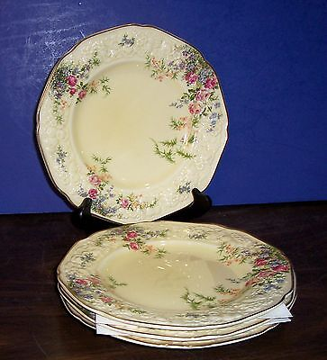 "Lot Of 4 Crown Ducal Florentine Rosalie Salad Plates 8.75"" Floral Made  England"