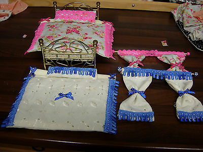 1/12Th Scale Dolls House Double Bedding Matching Curtains Pink Blue Handmade