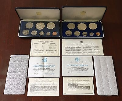 1974 And 1975 Jamaica Silver Cameo Proof 8 Coin Sets With Boxes And Coa's