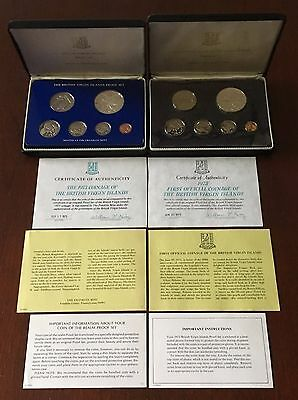 1973 And 1975 Virgin Islands Silver Cameo Proof Coin Sets With Boxes And Coa's