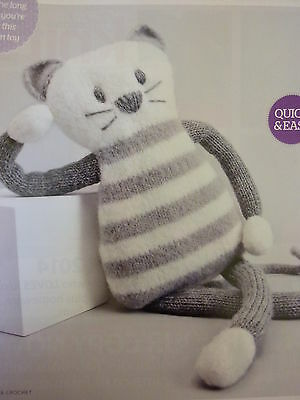 Knitting PatternTo Knit  Purrfect  Puss  Striped Toy In D.K.