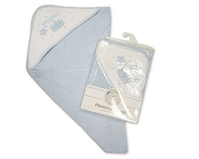 Baby Cotton Hooded Towel With Embroidery Prince Blue