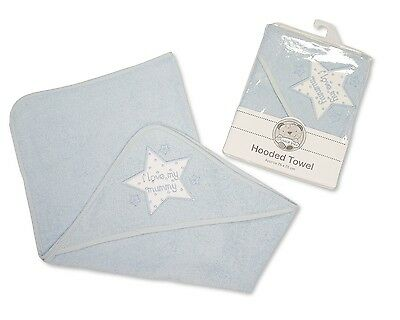 Baby Cotton Hooded Towel With Embroidery Blue - I Love My Mummy