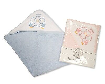 Baby Cotton Hooded Bath Towel With Embroidery Ducks Blue