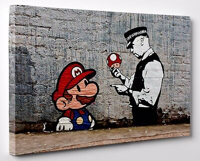 Banksy Super Mario and Policeman Canvas Print Steet Art Framed Ready To Hang A1