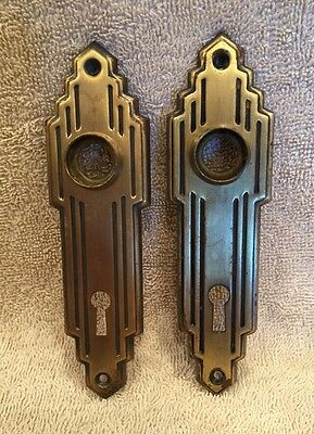 Vintage Pair Stamped Brass Art Deco Door Knob Back Plates Escutcheons NOS??