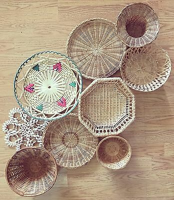 Set Of Vintage Wicker Rattan Baskets Arranged For Wall Hanging Light Boho Home