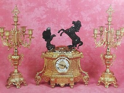 C998 Watch With Bronze Candelabri Gold Black Golden Animals