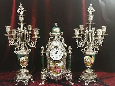 C1001 Candelabri Clock 5 Bronze Flames Successful Porcelain Insert