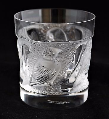 LALIQUE France Crystal frosted glass Owl figure Whisky Tumbler Glass