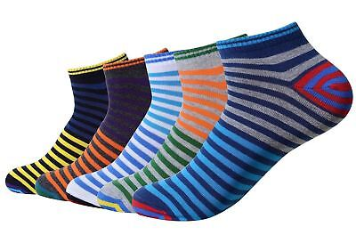 QBSM 5 Pack Men s Colorful Striped Happy Cotton Ankle Crew Socks