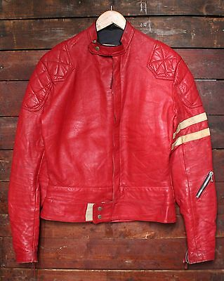 VTG 70s LEWIS LEATHERS RED CAFE RACER MONZA MOTORCYCLE JACKET AVIAKIT BIKER 38