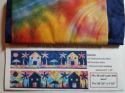 2016 Row By Row Quilt Kit Pattern Fabric Night at the Beach... Makes 2 rows!