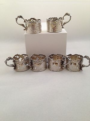 Set of 6 Dutch Solid Silver Glass Holders - Amsterdam 1900 - 104.2g