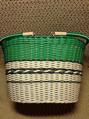Rare Vintage Retro Green White Plastic Wicker Easter Sewing Basket
