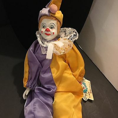 Paradies Collection Porcelain Doll Clown Musical Plays Raindrops NEW