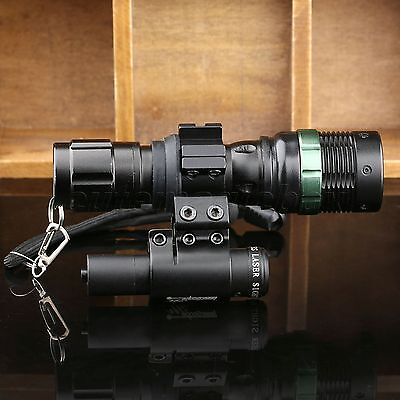 7W CREE ZOOM LED Torch Flashlight &Red Laser Sight Scope &Mount Ring Hunting Kit