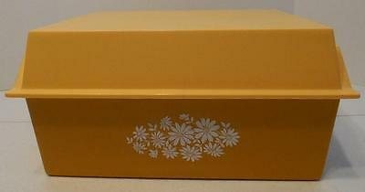 Vintage Plastic Harvest Gold Bread Box Storage Box With Top Open Lid