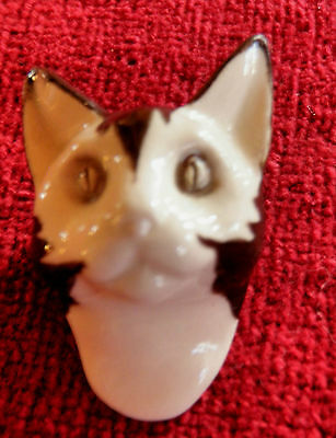 SALE! Beautiful Cat Face Head Brooch Pin ~ Wearable Art ~ Ceramic Clay Signed