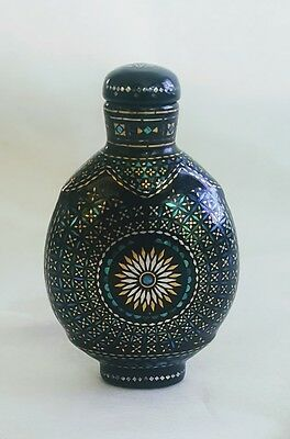 Antique Chinese Burgaute Black Lacquer Snuff Bottle Gold Shell Inlay Signed