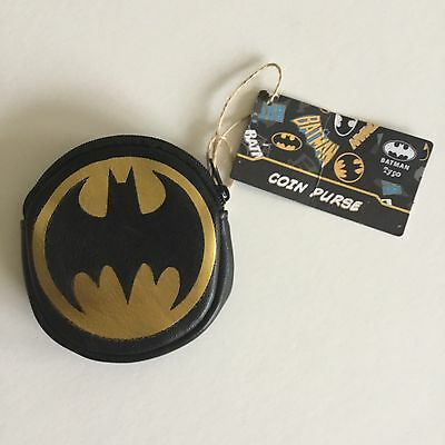 Dc Comics Batman Logo Round Zip Black Pu Leather Coin Purse Free Postage New