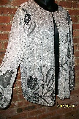 Vintage White Silk Beaded Jacket Laurence Kazar LS Plus Size 22 3X B56